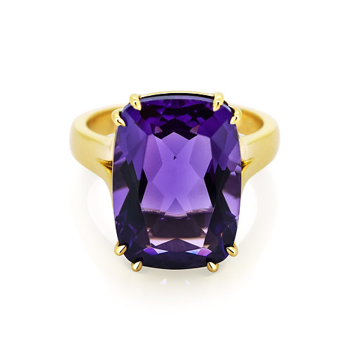 9ct Yellow Gold Amethyst Cocktail Ring