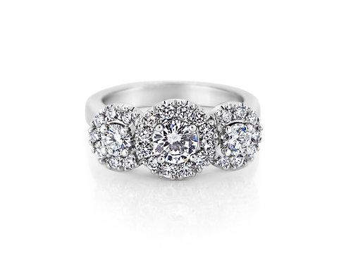 18ct White Gold Diamond Halo Trilogy Ring