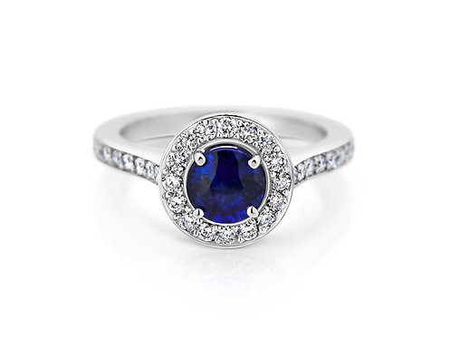 18ct White Gold Sapphire Diamond Engagement Ring