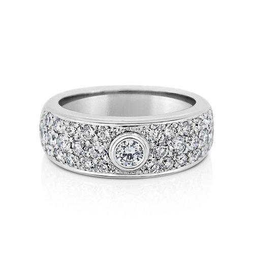 18ct White Gold Multi-row Diamond Pave Ring