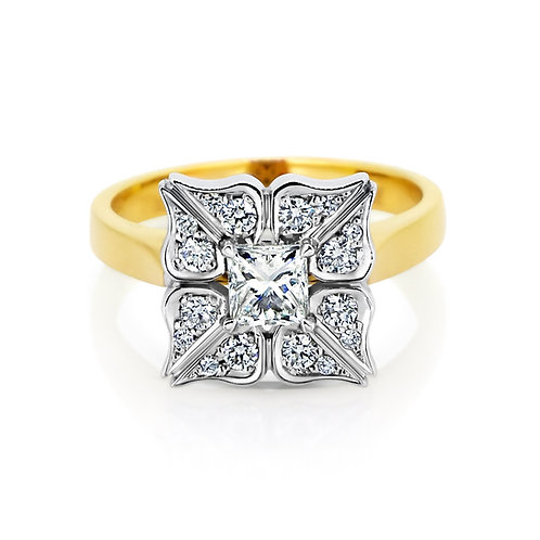 18ct Two Tone Gold and Diamond Flower Ring