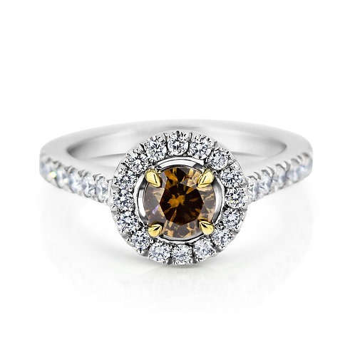 18ct White Gold Cognac Diamond Engagement Ring