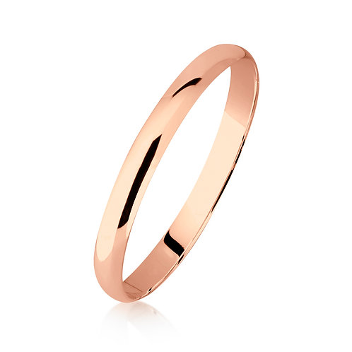9ct Rose Gold Half Round Bangle 8mm Wide