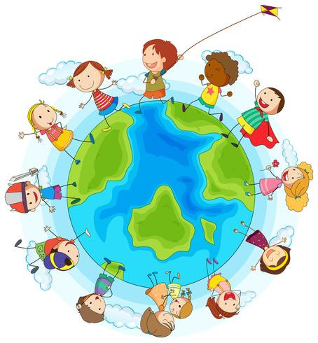 Niños parados al rededor del planeta tierra, jugando con diferentes artículos.