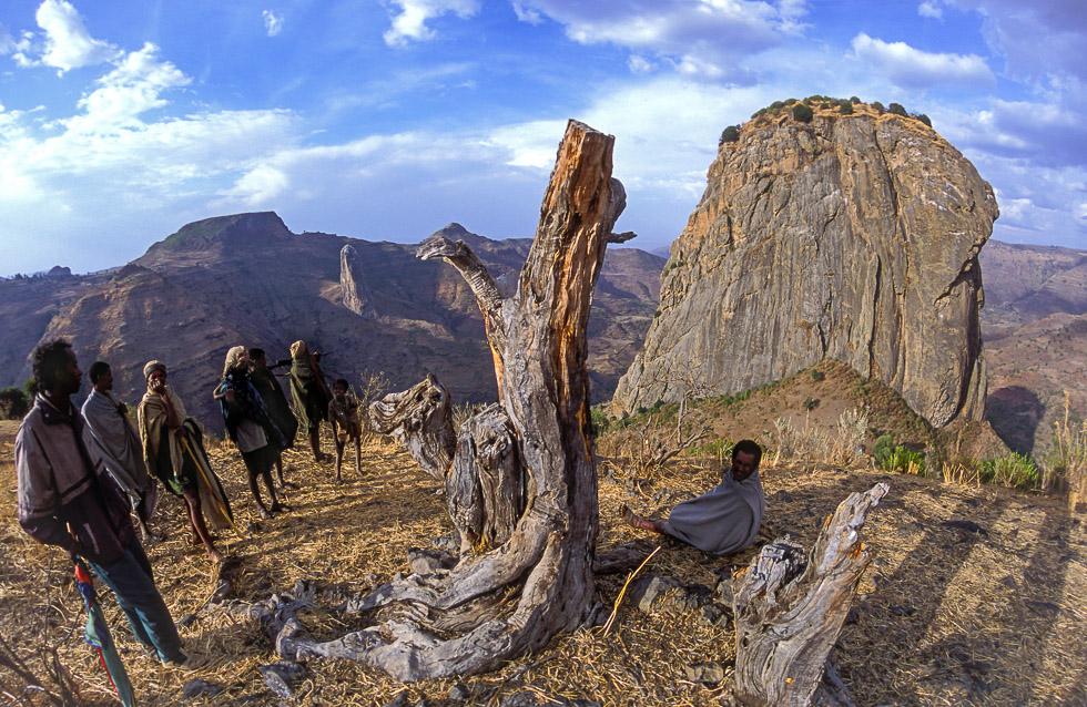 Villagers overlook Mt Wehni
