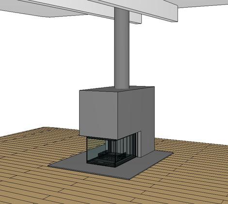 CAD Zeichnung Cheminée im Bau