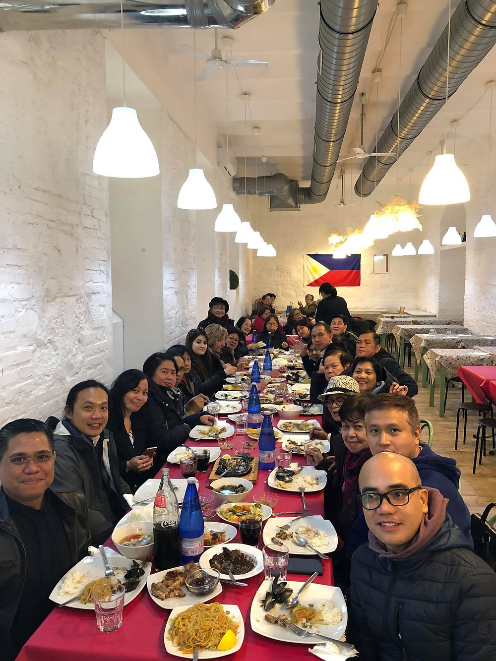 A recent party of Filipino pilgrims to Rome at Neighborhood Restaurant. (Photo courtesy Claire Datu)