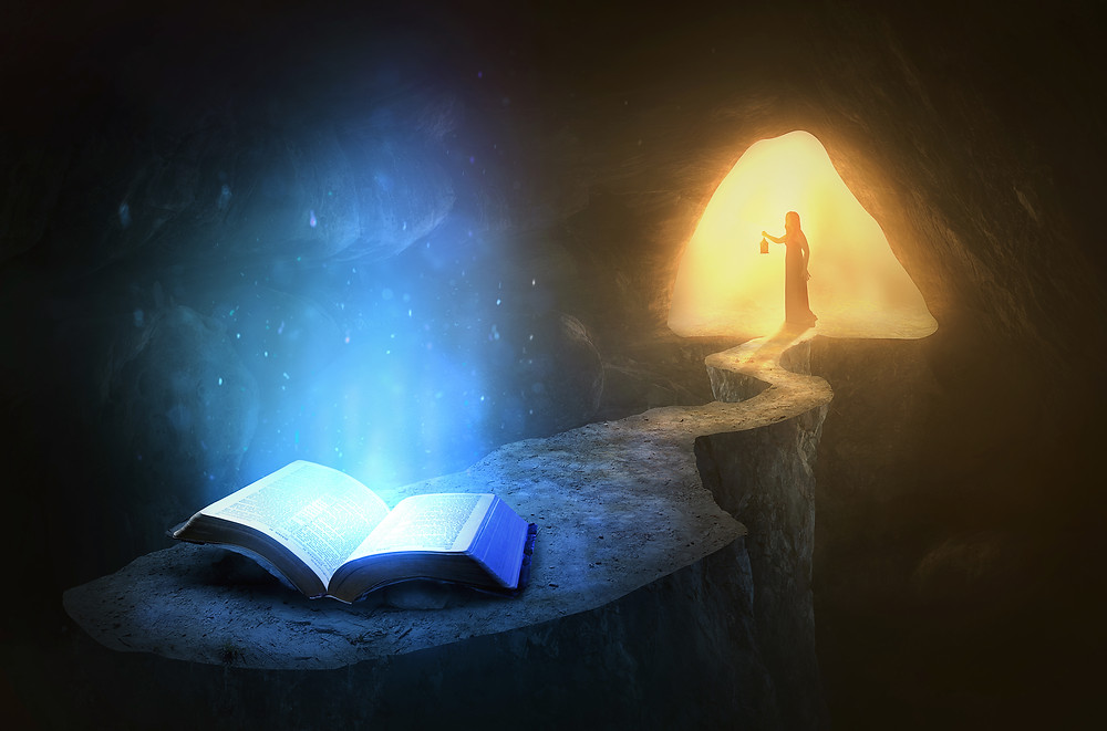 Glowing Bible in cave