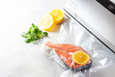 Salmon fillets in a vacuum package. Sous