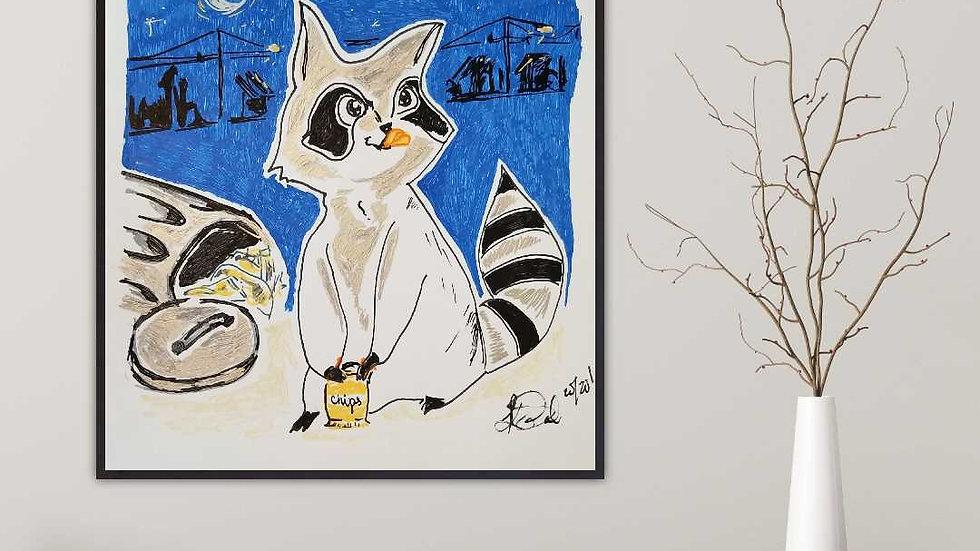 Mischievous Raccoon Print