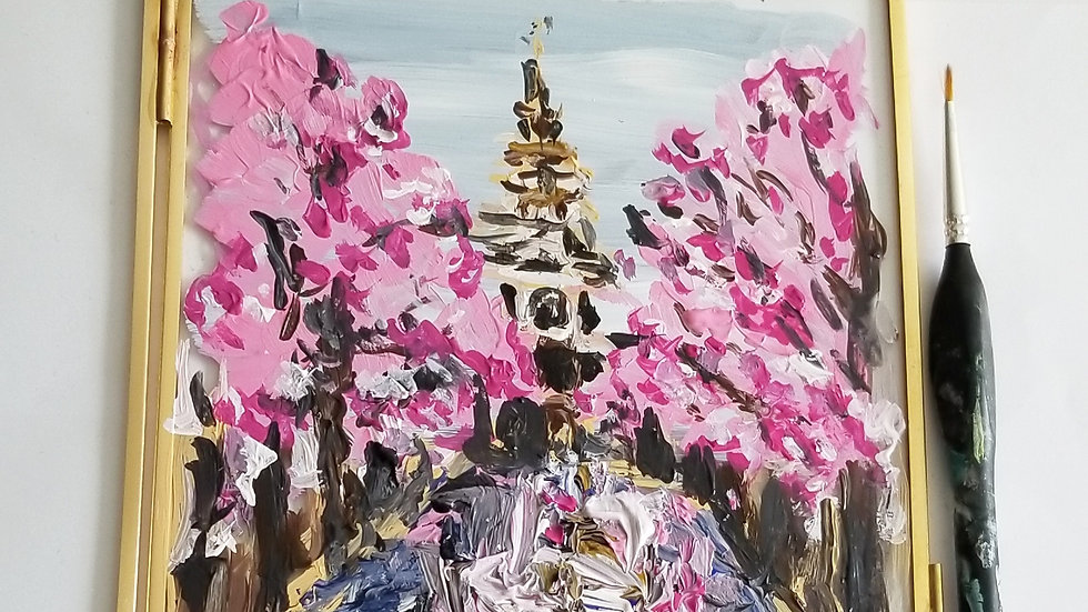 Pink Amsterdam Glass Painting