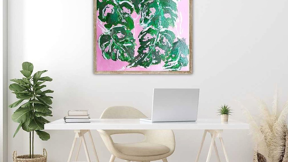 Pink Monstera Abstract