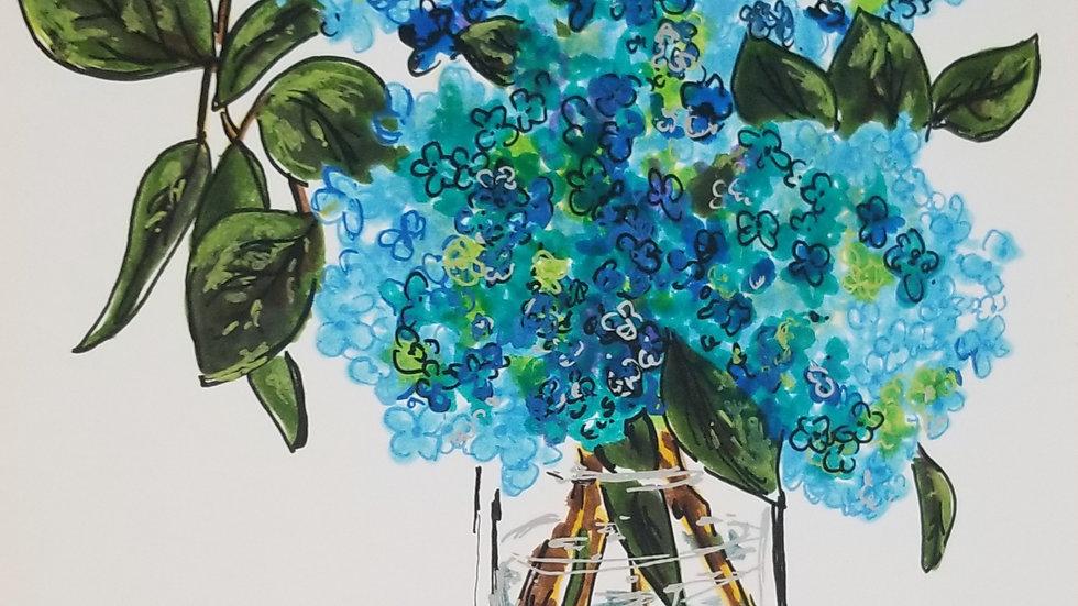 Linear Blue Hydrangeas