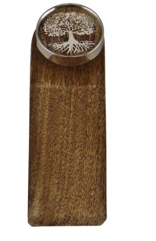 Decorative Wooden Doorstop, Tree Of Life Silver Design