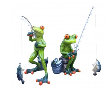 Set of 2 Fishing Frogs
