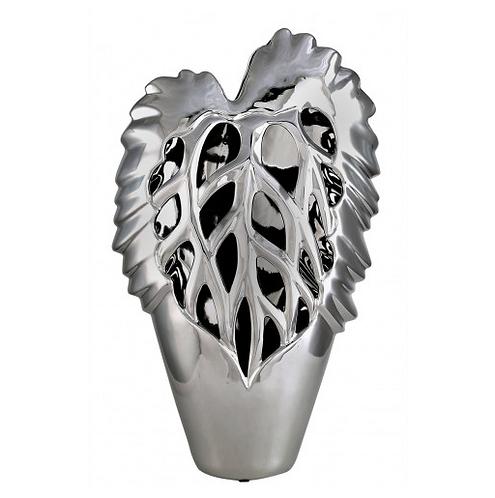 Large Silver Leaf Vase