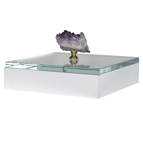 TimeLess Glass Lidded Box With Amethyst