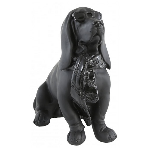 Cool Black Dog Wearing Sunglasses Figurine