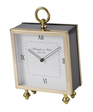Satin Grey and Gold Square Mantel Clock