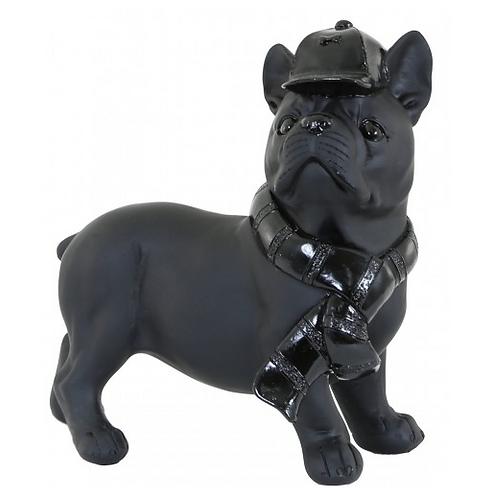 Cool Black Dog Wearing Hat & Scarf Figurine