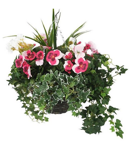 Artificial Pink Pansy and White Geranium Display