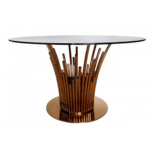Lorentz Metal & Smoked Glass Dining Table Rose Gold