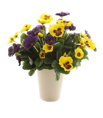 Artificial 37cm Yellow and Purple Pansy Display