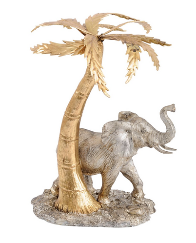 Elephant and Palm Tree Sculpture