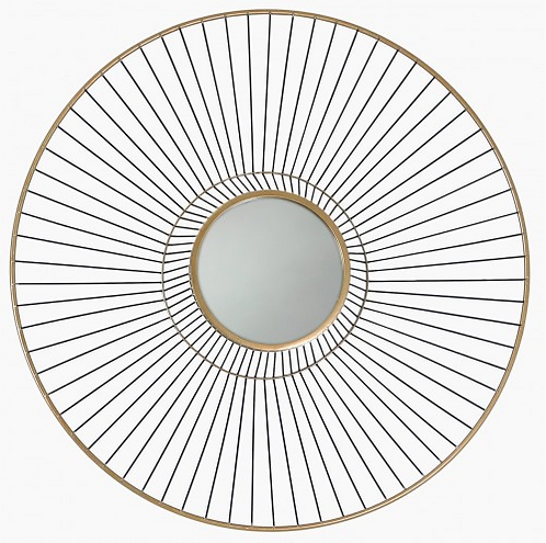 Mirrored Gold Round Metal Wall Art