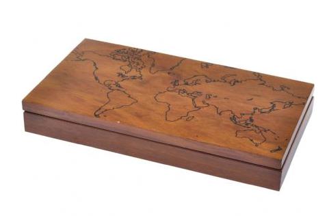 Burnham World Map Box In Sheesham Wood