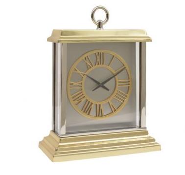 Jermyn Brass And Steel Rectangular Mantel Clock