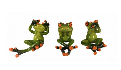 Set of 3 See / Hear / Speak No Evil Orange Toe Frogs