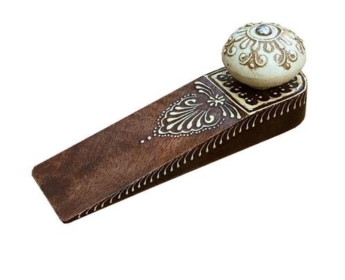 Brown Doorstop With Wooden Knob