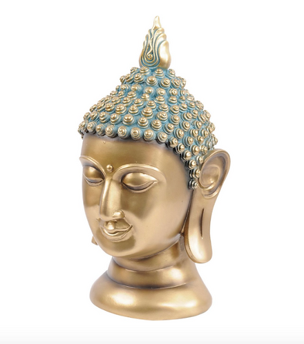 Buddha Head Sculpture in Gold