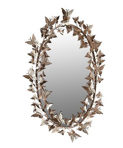 Golden Butterfly Oval Mirror