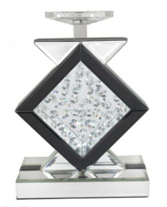 Astoria Black Mirror Diamond Candle Holder