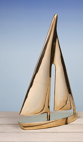 Ornamental Yacht Sculpture in Solid Brass