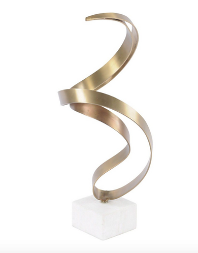 Brass Abstract Swirl Sculpture On Stone Base
