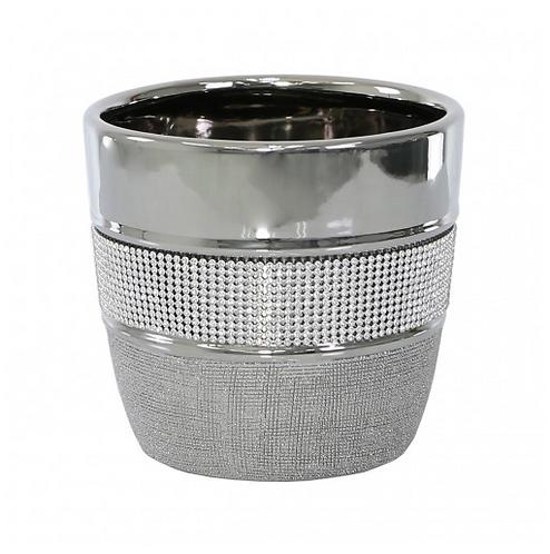 Silver Textured Plant Pot