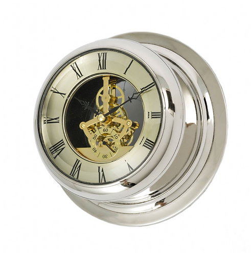 Nickel Glass Fronted Skeleton Wall Clock