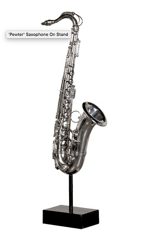 'Pewter' Saxophone On Stand.
