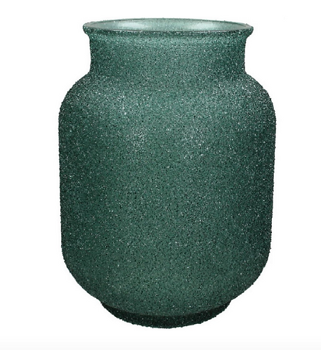 Adeline Green Textured Glass Vase Small