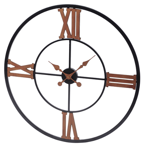Black And Copper Iron Wall Clock