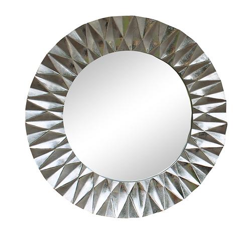 Silver Metal Circular Mirror With Geometric Design