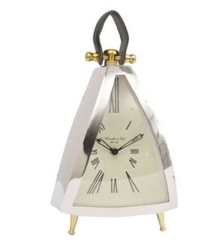 Isosceles Curved Front Mantel Clock with Leather Handle