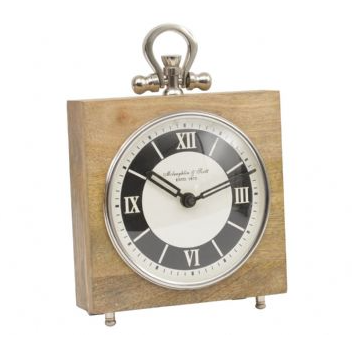 Natural Mango Wood and Nickel Square Mantel Clock