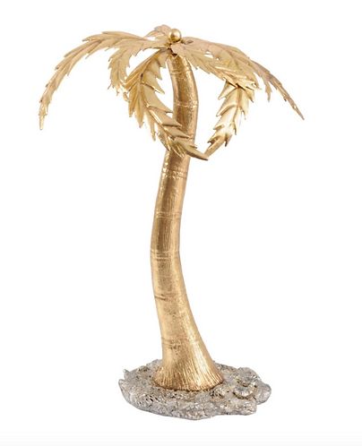 Serengeti Palm Tree Sculpture in Gold Resin
