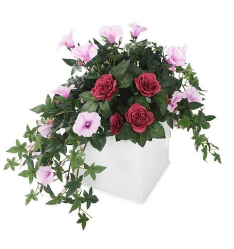 Artificial  Pink Morning Glory and Mulberry Pink Rose Display