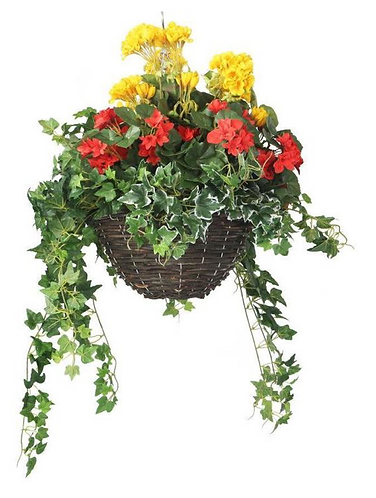 Artificial Red Begonia and Yellow Geranium Display
