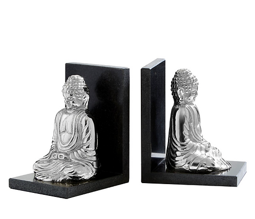 Set Of 2 Buddha Bookends With Marble Base